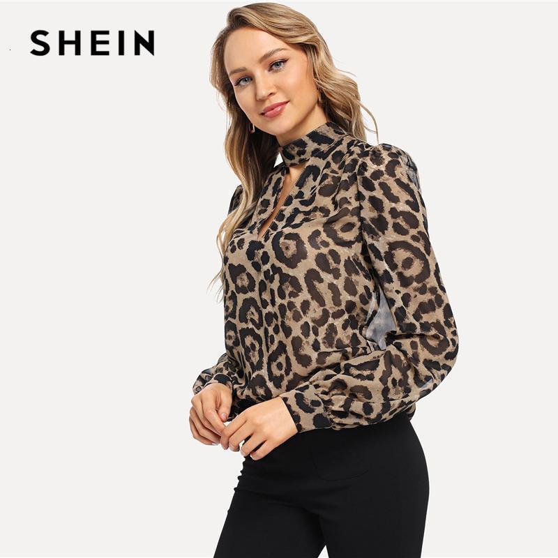 Shein Renkli Ofis Lady Gerdanlık Boyun Leopar Baskı Kesim Uzun Kollu Bluz Sonbahar İş Giyim Moda Kadınlar Tops ve Bluzlar1