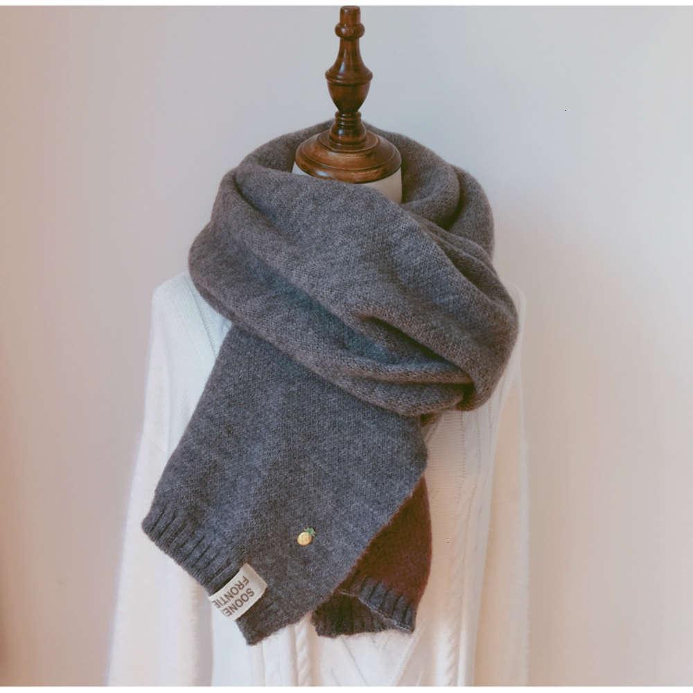 Inverno femminile Coreano Studente Versatile Ins Ins Solido Colore ispessoso della lana di lana di lana piccola sciarpa di ananas