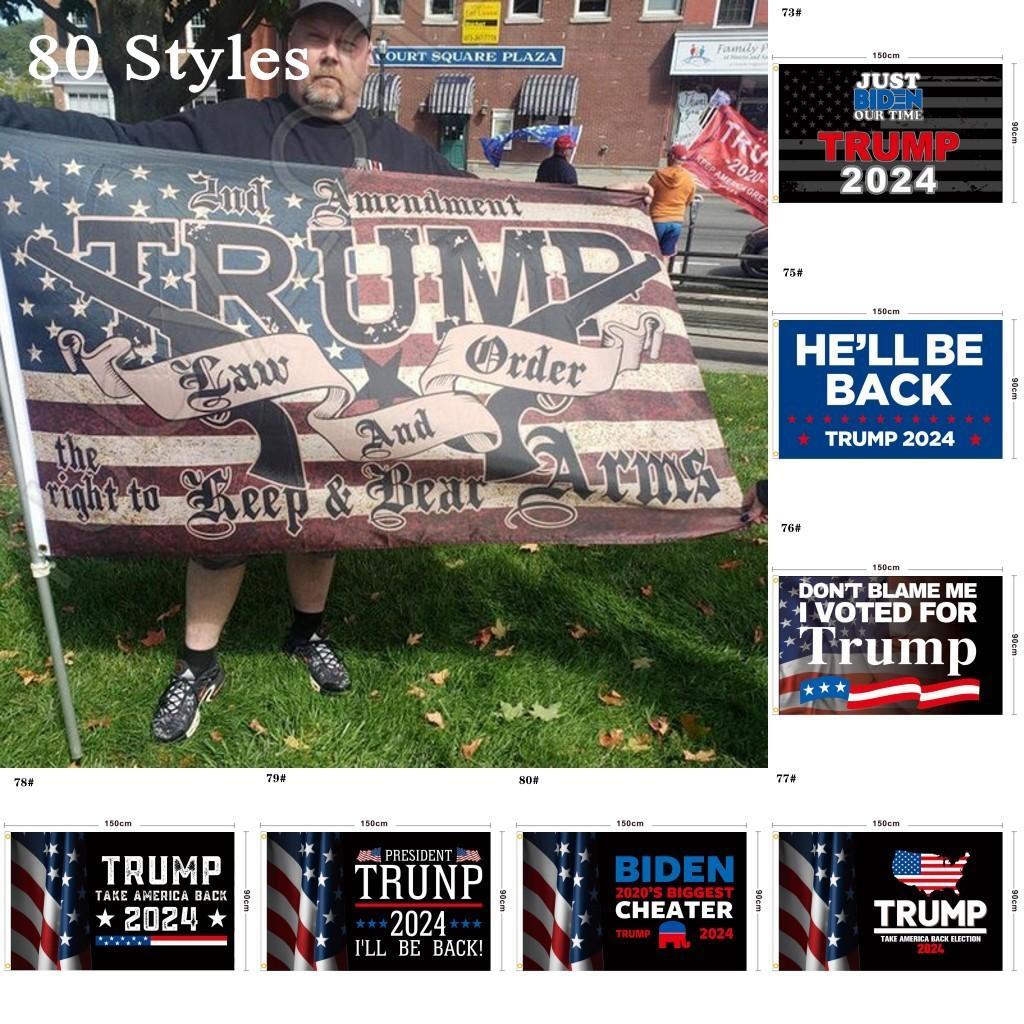 80 Tasarımlar Doğrudan Fabrika 3x5 FT 90 * 150 cm Amerika Birleşik Devletleri Kaydet 2024 Başkan ABD DHL Ücretsiz Gemi için Trump Flag