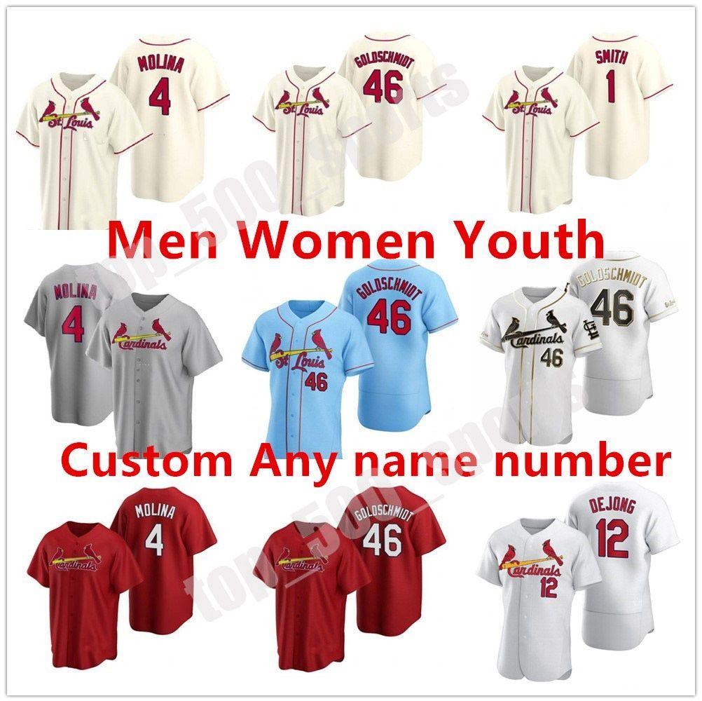 추기경 2021 남성 여성 청소년 28 Nolan Arenado 야구 유니폼 세인트 루이스 46 폴 Goldschmidt 4 Yadier Molina Ozzie Smith 25 Dexter Fowler
