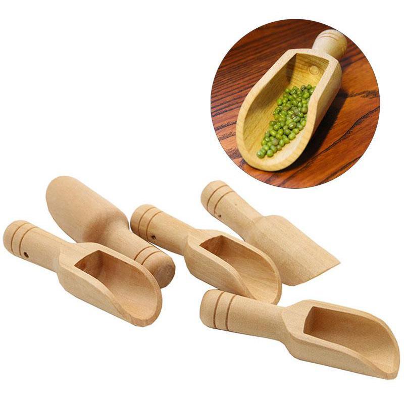 Mini Holzschaufel Bad Salt Pulver Reinigungsmittel Löffel Süßigkeiten Wäscherei Tee Kaffee Löffel Umweltfreundliche Holz Spielzeug Kitchen Tool GWB8962