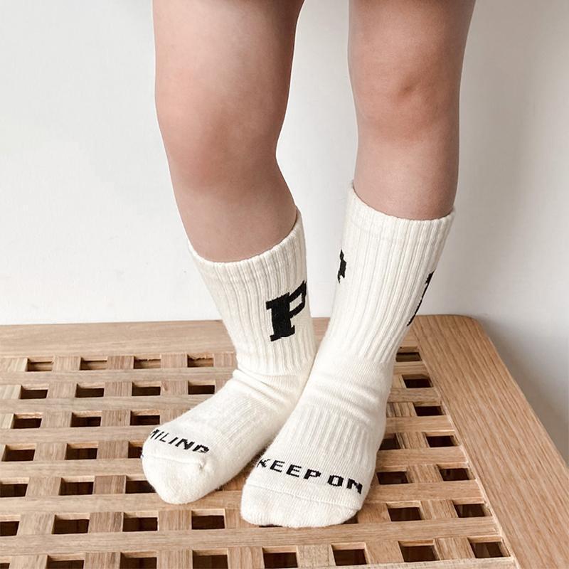 3-10 년 패션 소년 스포츠 양말 코튼 유아 소녀 긴 양말 무릎 높은 편지 어린이 아이 학교