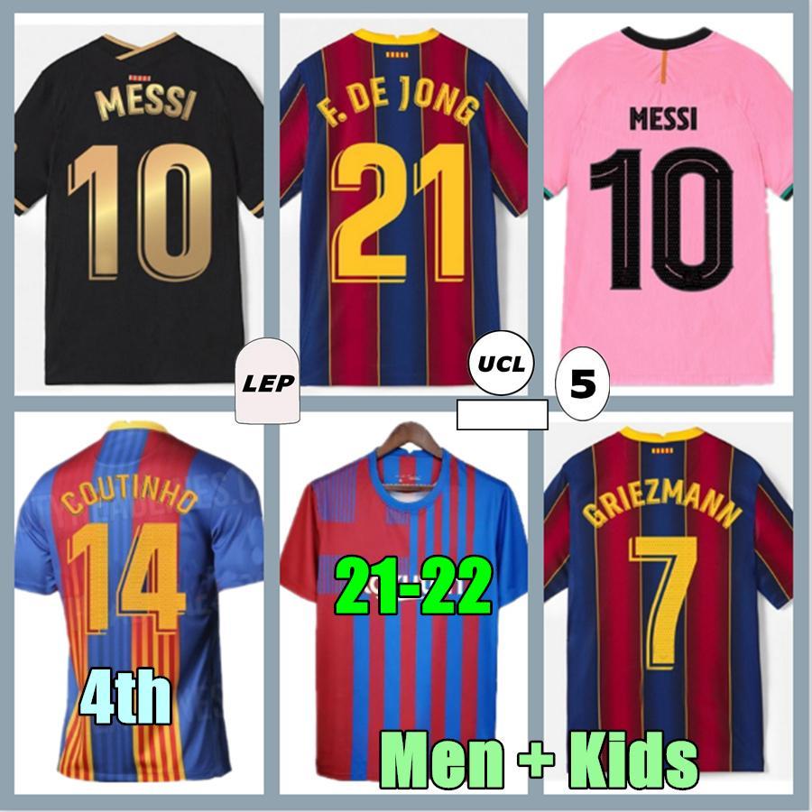2021 Барселона Футбол Джерси Барка 21 22 CamiSeta de Futbol Ansu Fati 2022 Messi Griezmann F.de Jong Mailoots de Футбольная рубашка Мужчины Детский комплект