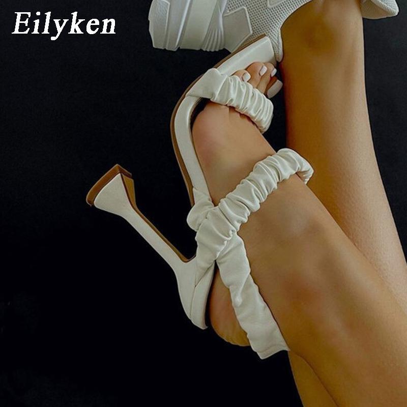 Eilyken Neue sexy gefaltete Damen Sandalen Sommer Mode Party High Heels Schuhe Gladiator Sandalen Schwarz Weiß Frauen Schuhe 210423