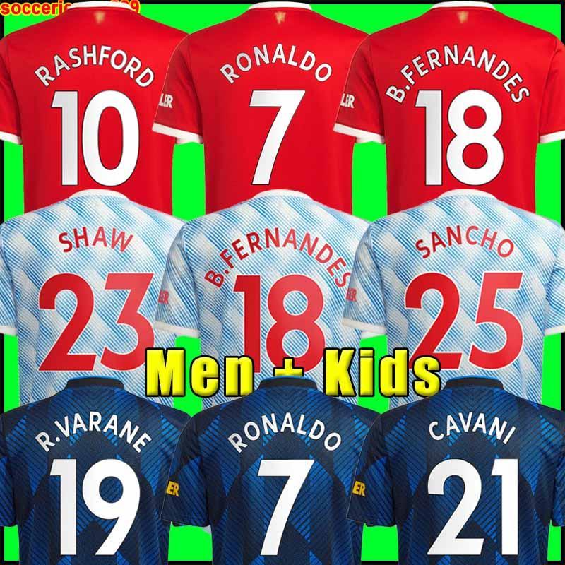 Camisas de futebol Manchester 2021 2022 UNITED CAVANI UTD VAN DE BEEK B. FERNANDES RASHFORD camisa de futebol 21 22 homem + crianças kit HUMANRACE quarto