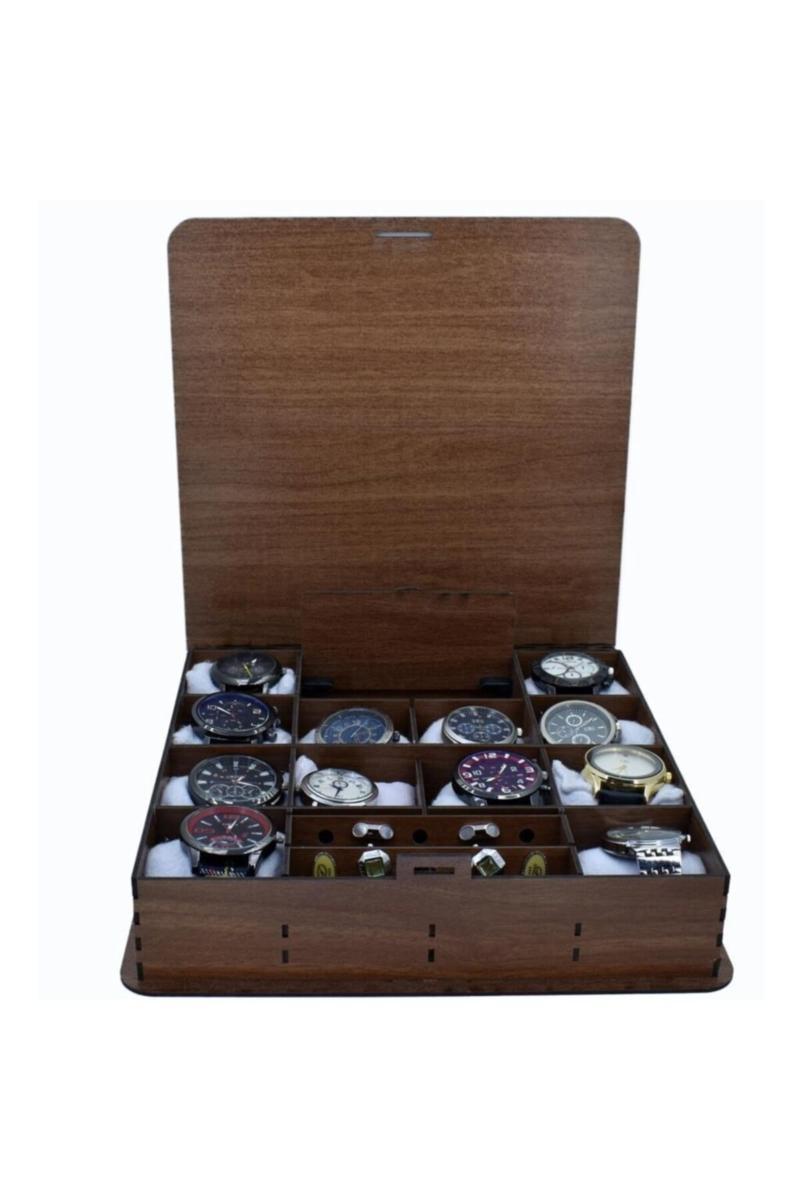 Caixa de relógio de 12 pack com abotoaduras de madeira e compartimentos de joalharia 2021053001 conjunto de acessórios de banho