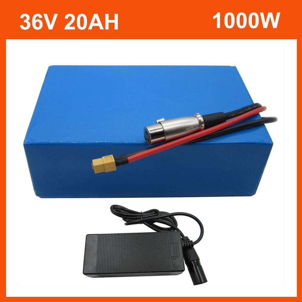 1000 W Pil 36 V 15AH 20Ah Elektrikli Bisiklet Li-Ion 1500 W 36 V 30AH 40AH 50AH Lityum Bateria Paketi PVC Case 30A BMS ile 42 V 2A Şarj