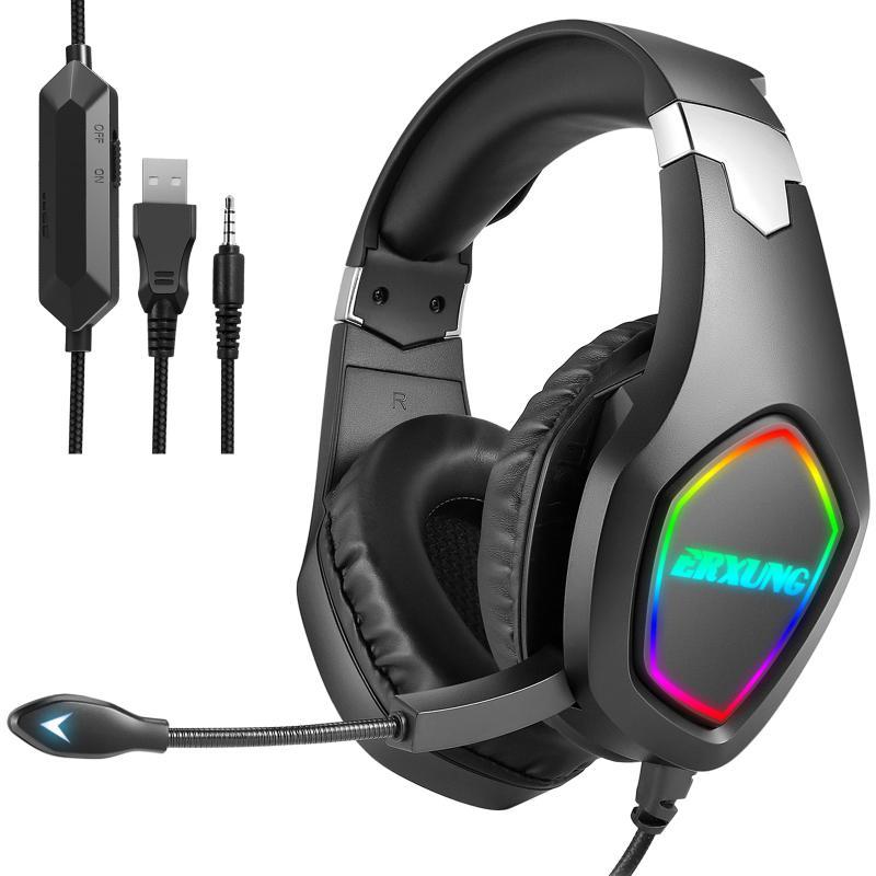 2021 Auriculares profesionales de jugador de luz LED para PS4 PS5 Auriculares de juego de computadora PC Estéreo para Bass Auriculares con cable con micrófono Regalos
