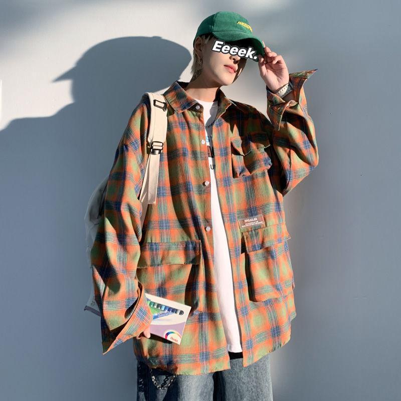 네 플로하 2021 남성 캐주얼 느슨한 격자 무늬 셔츠 일본식 여성 대형 셔츠 한국의 Streetwear 남자 의류 빈티지