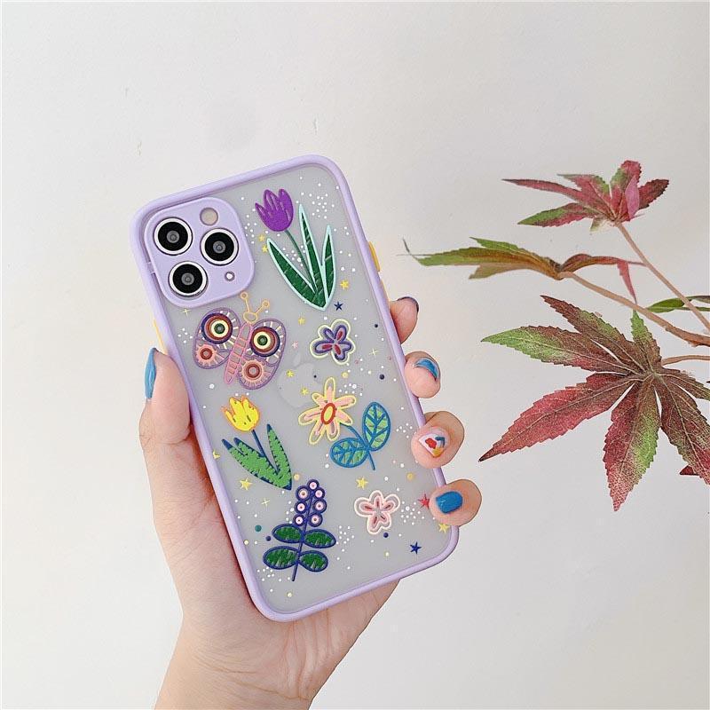 Леди дизайн Телефонные чехлы для iPhone 12 11 Pro Max XS XR 8 7 6 Защита камеры Ударозащитный чехол Крышка Цветочная печать