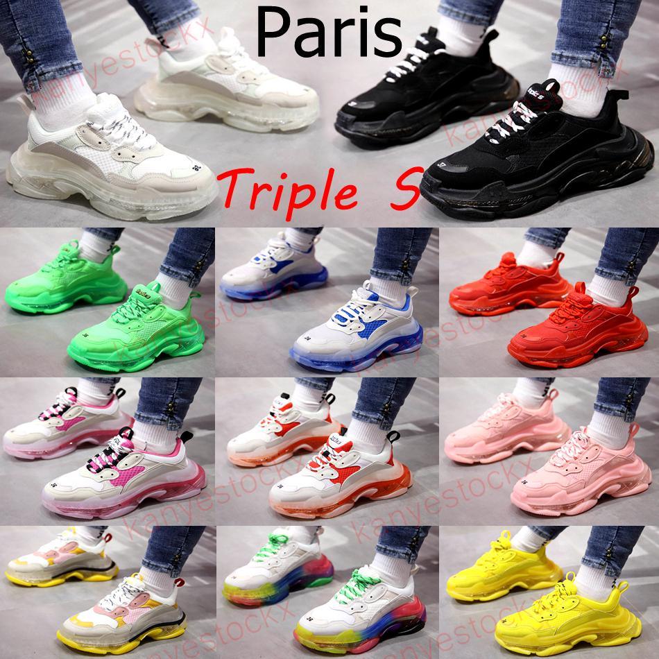 Crystal Fond Paris 17fw Triple S Baskets Mens Femmes Casual Chaussures Casual Lettre Noir Rose Clear Semelle Semelle Blanc Vert Arc-en-ciel Hommes Sports Dad Dad Shoe