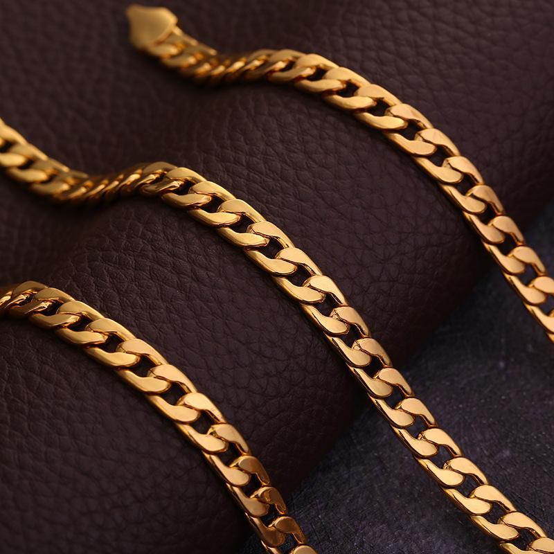 6mm luxo mens mulheres jóias carimbadas 18k ouro chapeado colar de cadeia para homens mulheres plana cadeias colares presentes jóias fazendo hip hop