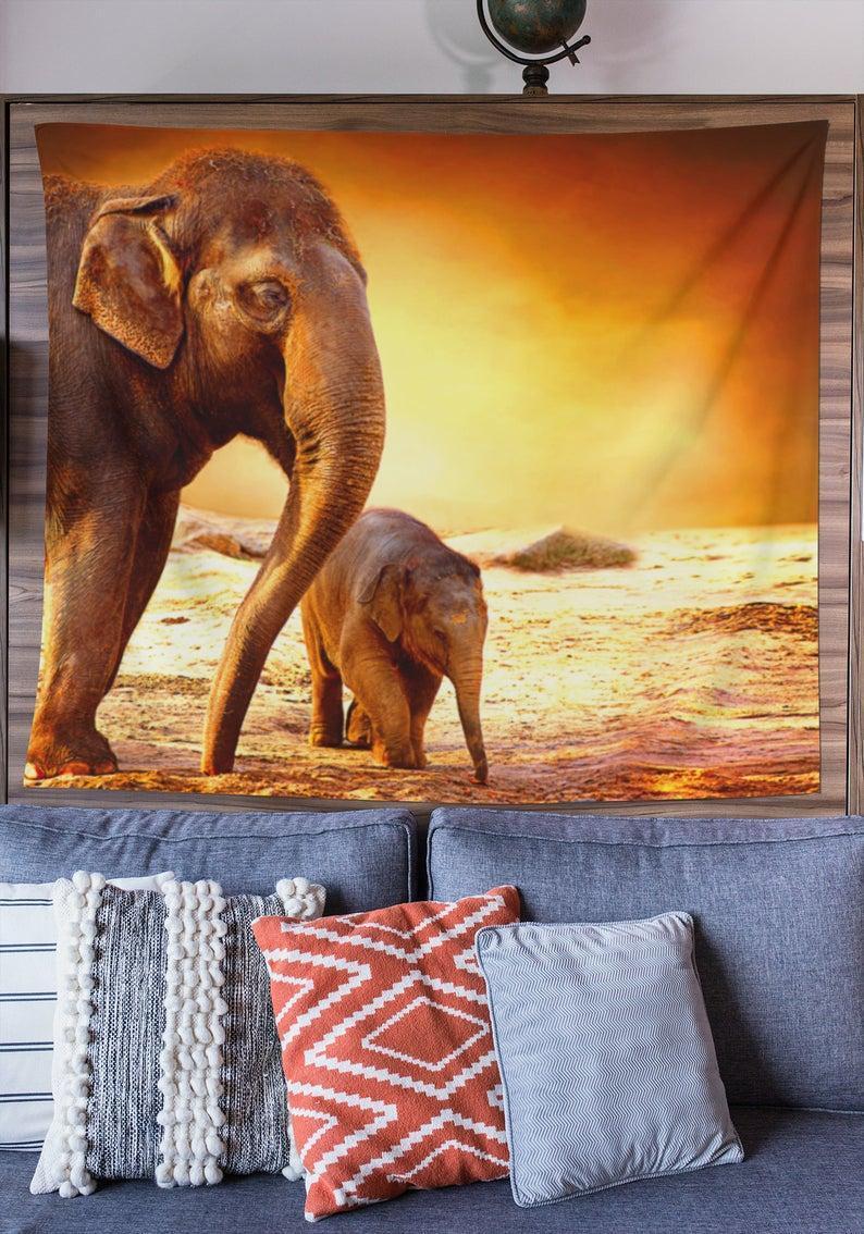 Okyanus Duvar Goblen tarafından Goblenler Filler, Vintage Peyzaj Sanatı, Yatak Odası Odası Dekor