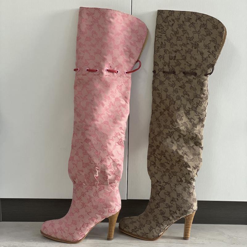Donne sopra il ginocchio Boots Designer Boot Moda Fashion Combat Boot Canvas Cerniera Zipper Cinghie regolabili Scarpe Casual Stis Stilotto Tacco Stivaletto Big Dimensioni con scatola 317