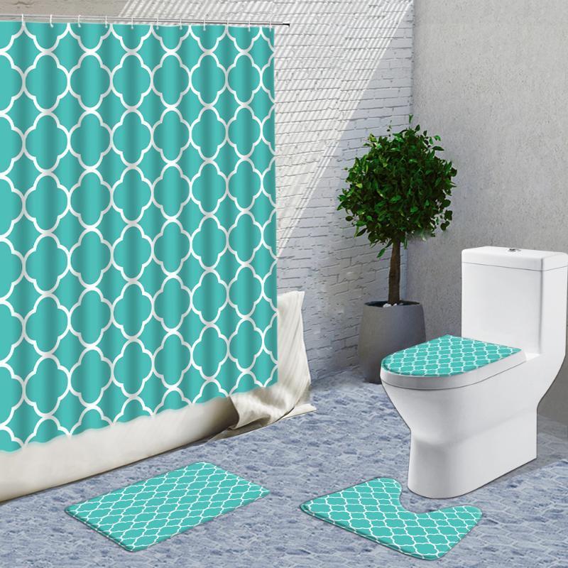 Chuveiro Cortinas Persa Geometria Geometria Cortina Definido Polka Dot Mint Green Home Banheiro Decoração Fabricante Flanela Casa de Banho Não-deslize