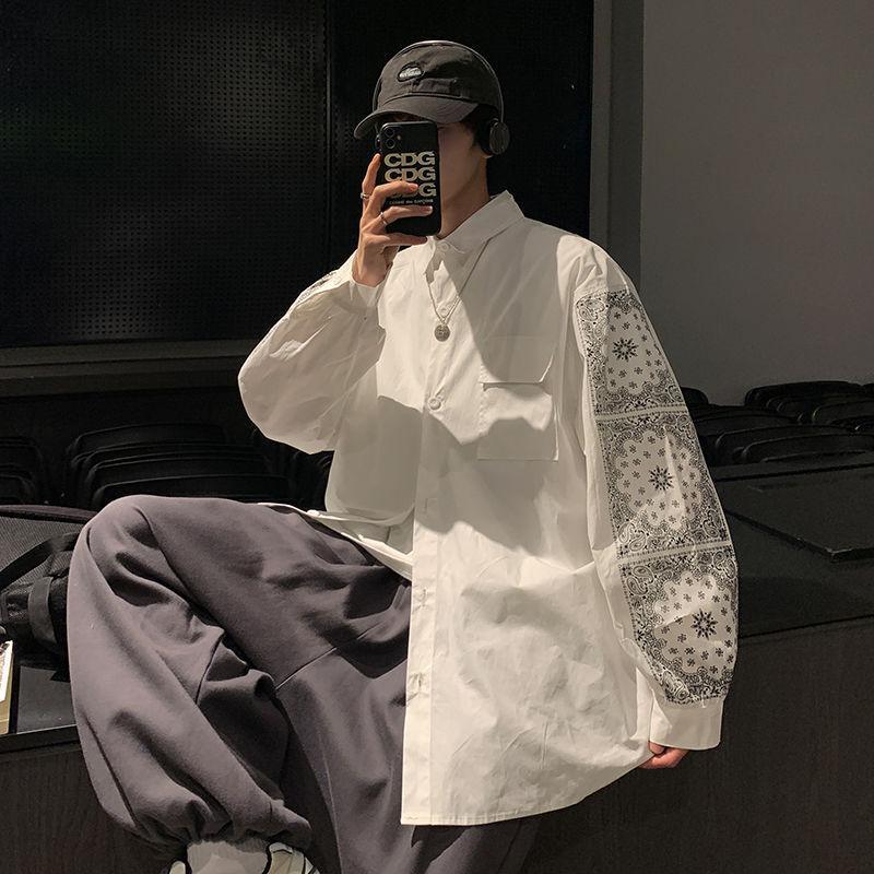 봄과 가을 Camisa Masculina 셔츠 남성 디자인 감각 가벼운 럭셔리 하이 스트렌드 옷깃 느슨한 인쇄 긴 소매 캐주얼 셔츠
