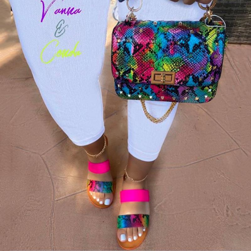 Doppia cinghia Sandali aperti Sandali Estate Neon Snake Stampa Pantofole e Borsa Set Sandalias Mujer 2021 Claquette Femme Zapatos