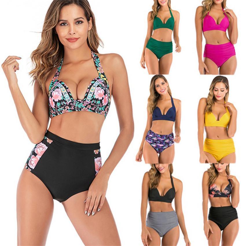 여성 수영복 고삐 높은 허리 솔리드 멀티 컬러 프린트 2 조각 비키니 넥 밴드 섹시한 수영복 15 색