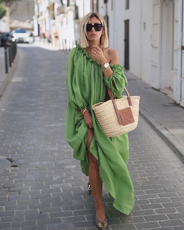Kleider 9100 Casual Sommer lose und komfortable Urlaubstil Frucht grünes Schulterkleid