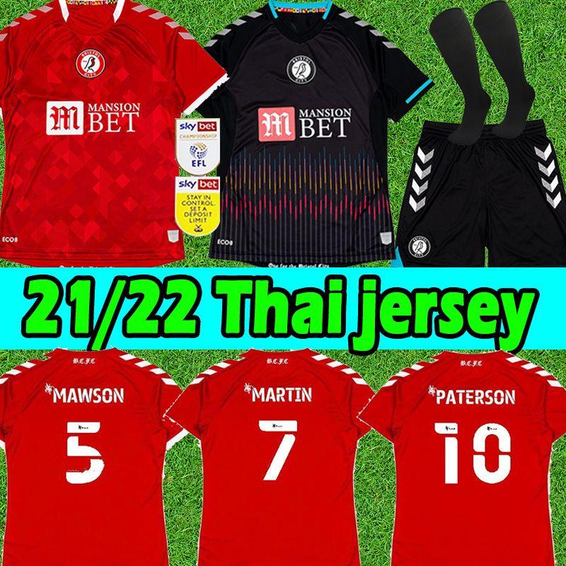 2021 2022 Bristol City Futbol Formaları Ev KIRMIZI Mavi Robins Paterson Wells Weimann Erkekler Çocuk Kitleri Çorap Tam Setleri Camisetas de Fútbol Futbol Gömlek Üniformaları