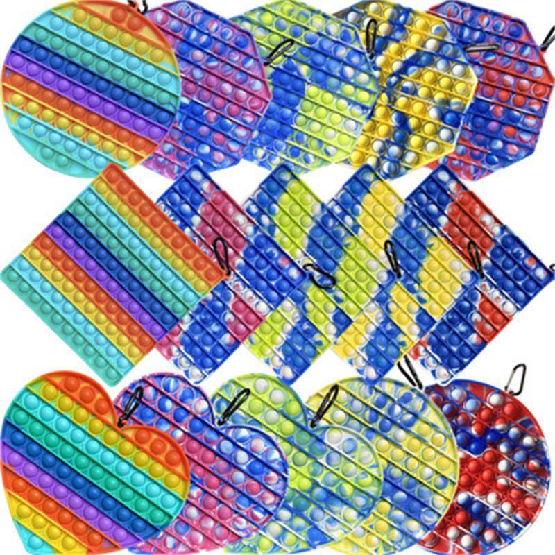 Büyük boy 20 cm tie-boya gökkuşağı itme kabarcık fidget oyuncaklar dekompresyon oyuncak parti favor basit gamalı paspas veya coaster anti-stres kabartma hediye w122