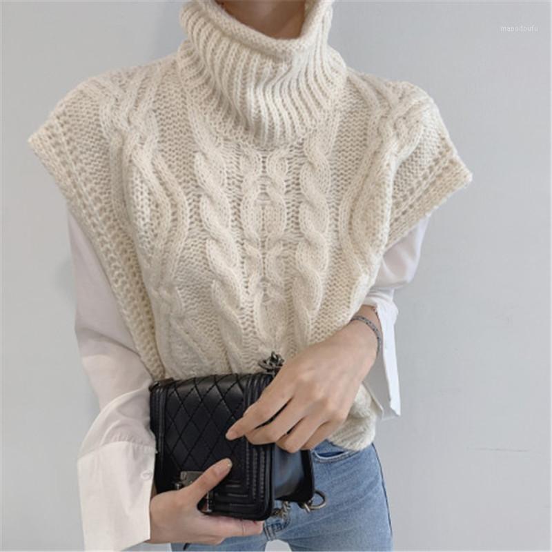 Otoño invierno tortuga de tortuga sin mangas suéter chaleco mujeres moda torsión patrón corto jersey chaleco chaleco casual ropa de punto suelta tops1