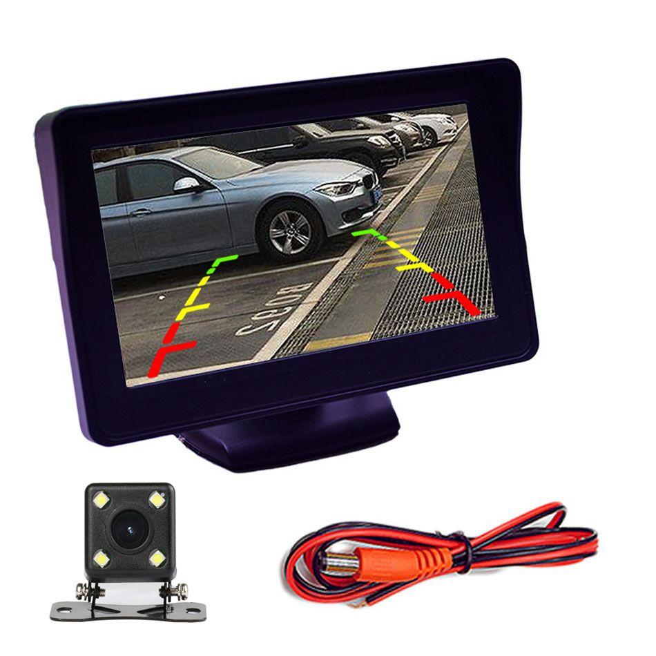 """شاشة مراقبة السيارة 4.3 بوصة مع الرؤية الخلفية عكس موقف سيارات الكاميرا TFT LCD عرض HD الرقمية اللون 4.3 """"PAL / NTSC"""