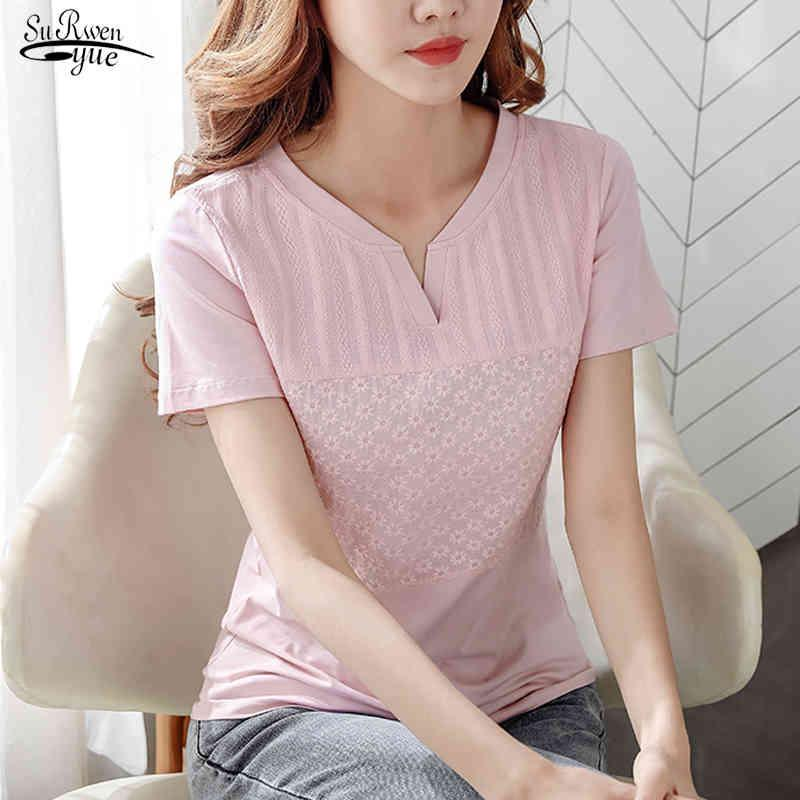 Tops de mode à manches courtes Femmes Blouse shirt d'été Col V-Col V-Coton Solid Coton Bureau Blouses Feminine Plus Taille 8587 50 210518