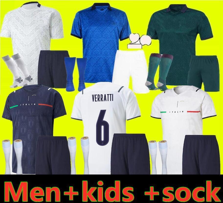 2021 2022 إيطاليا Home Soccer Jersey Men Kids Chiesa Kits 21 22 Italia Maglie da Calcio Verratti Jorginho Romagnoli Divalobile كرة القدم