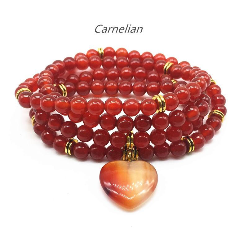 Natural Carnelian Mazonite Stone Beads Charm Bracelet For Women 74CM Long Necklace Girl Gifts Fashion Jewelry Beaded, Strands