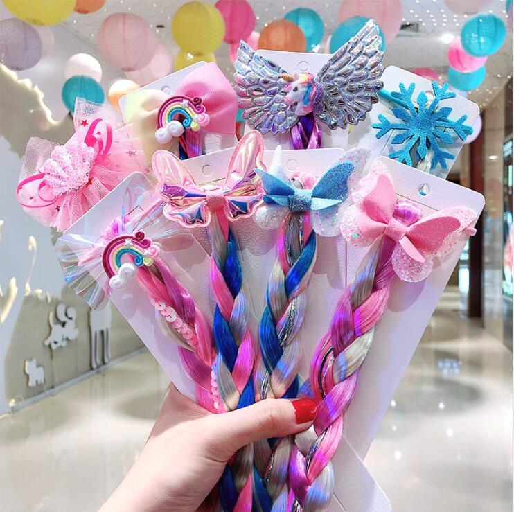Peinado de 8 colores Rainbow Unicornio con clips largos de peluca Navidad Brillante Pelo Bow Girls Accesorio para el cabello Barrettes