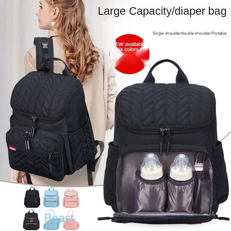 حقيبة الأم الإبداعية حفاضات مطرزة سعة كبيرة خارج الطفل الجافة الرطب حقائب الظهر حقائب الظهر
