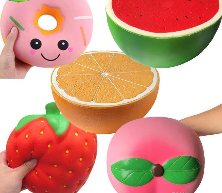 Kuklalar Büyük Squishes Oyuncaklar Jumbo Çilek Şeftali Karpuz Turuncu Squishy 25 cm Süper Yavaş Yükselen Sıkmak Yumuşak Kokulu Meyve Çocuk Hediyeler