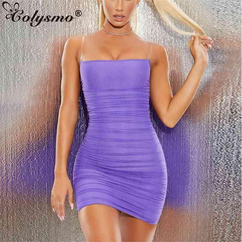 Correias transparentes Sexy Dress Senhoras Roxo Off Off Slash Garganta Preto Verão ES Night Roupas 210521