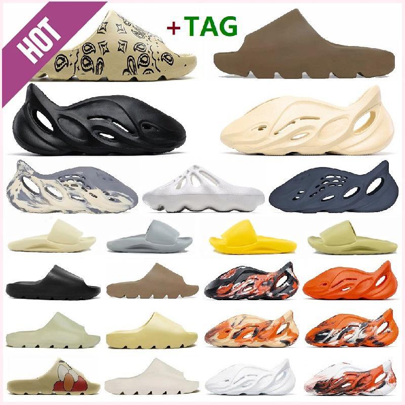 yeezy yeezys yezzy yzy alta calidad Kanye West Sandals Zapatos Triple Negro Blanco Diapositivas Sock Hueso Resina Desierto Arena Tierra Marrón Hombres para mujer zapatillas