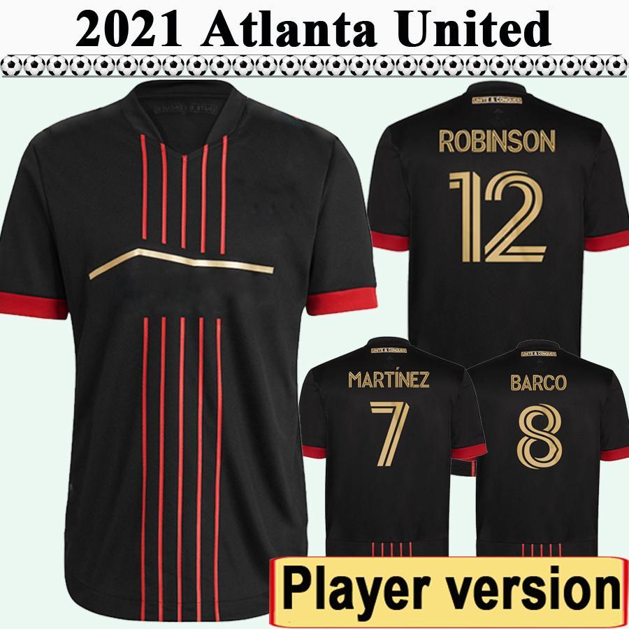 2021 G. MARTINEZ Version Player Version Mens FC Soccer Jerseys Atlanta United Barco Robinson Home Black Football Shirt Uniformes