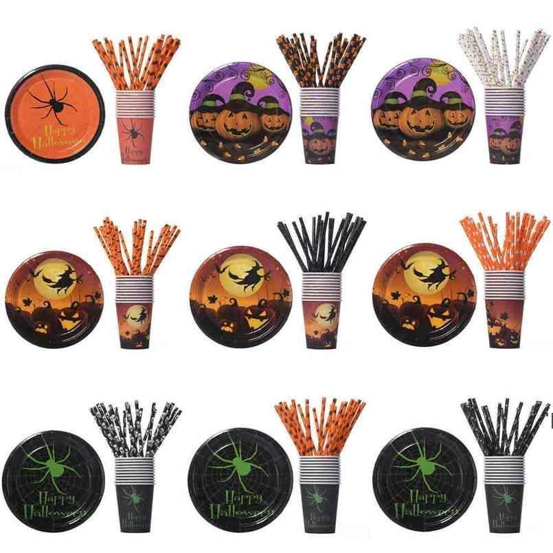 Vaisselle de dessin animé jetable pour les pailles de citrouille d'Halloween Head Head Skull Head Squelette Bat Ghost Print Paper Straw Holy-Friendly BWB9530
