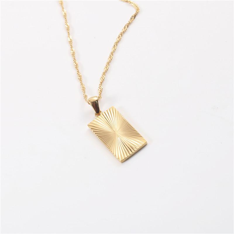 Joolim Jewelry Tarnish Free Pvd Gold Plated Sunburst Rectangle Pendant Trendy Necklace Wholesale