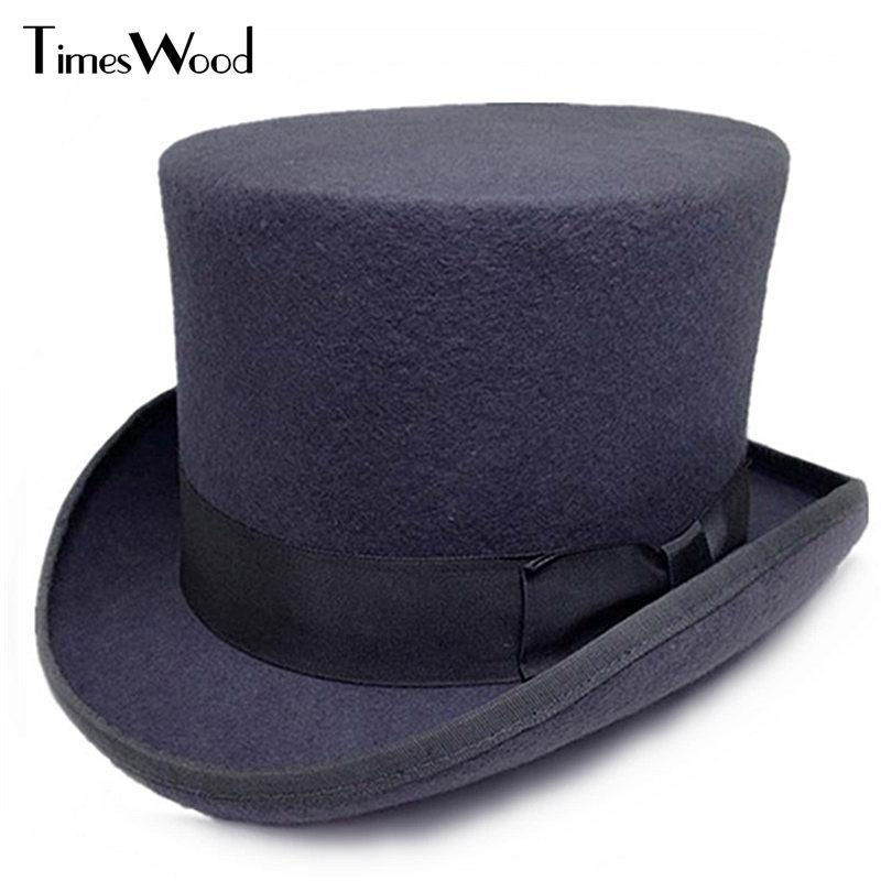 13.5cm 높이 검은 색 빨간색 회색 양모 높은 탑 모자 남성 여성 Chapeau Fedora Jazz Magician 빈티지 파티 모자 S M L XL Wide Brim을 느꼈다