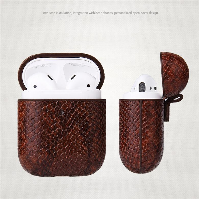 Luxury Design Retro Snake Print Storage Bag for TWS Apple Airpods2 Pro Wireless Earphone Cover Python Skin Pattern Pouch Shell with Carabiner Hook