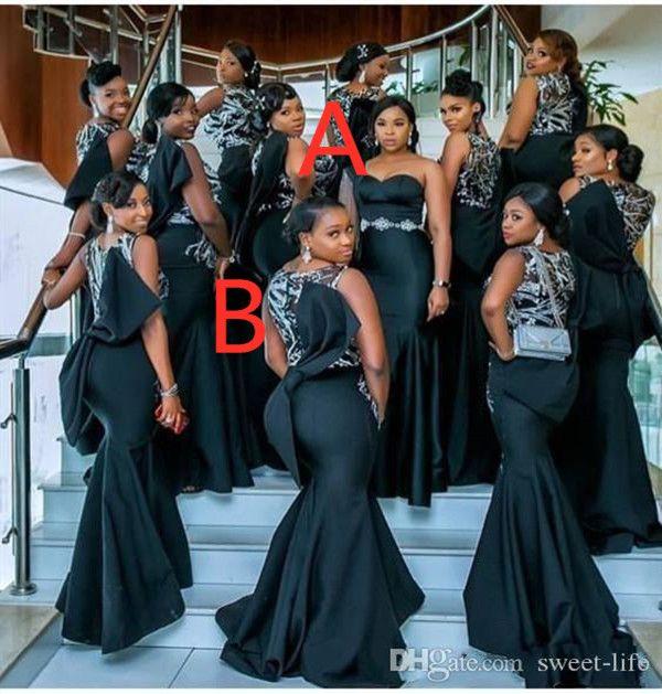 2021 아프리카 인어 명예 드레스의 섹시한 하녀 이브닝 가운 레이스 아플리케가 긴 신부 들러리 파티 착용