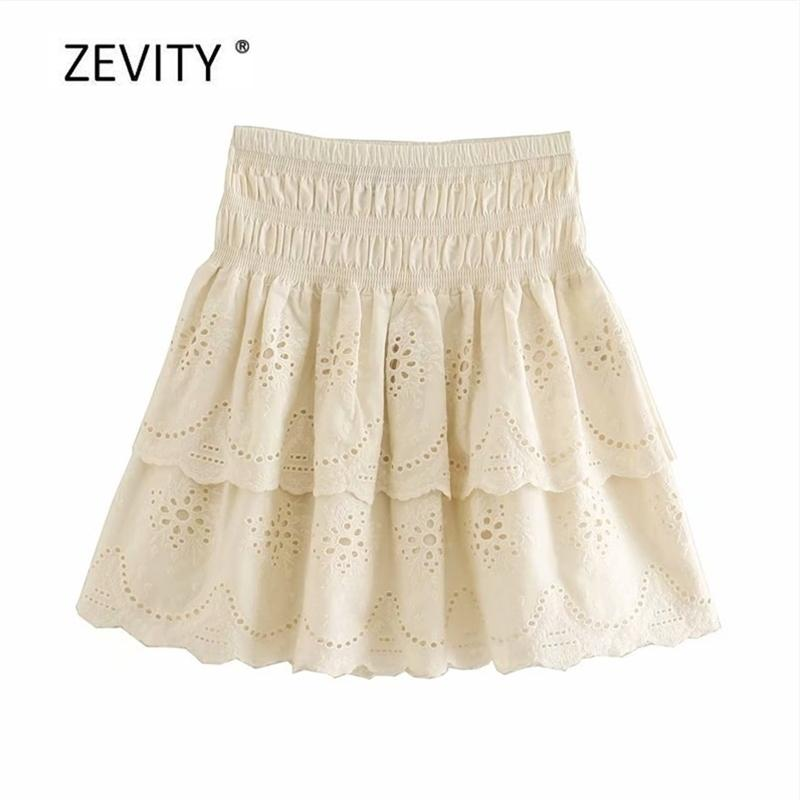 Femmes Fashion Creux Broderie Volants Mini Jupe Faldas Mujer Mesdames Taille élastique Solide Chic Casual Dunirts Qun647 210420
