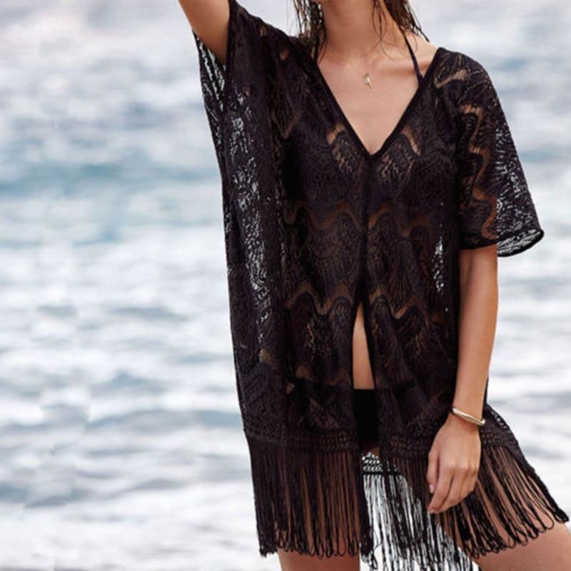 Женщины Девочки Мода Повседневная Сверхловие Покрытие Крышка Блузка Кружева Кисточкой Крючком Кафтан Летний Лэйн Лонг-Бич Носить Женщины Блузки Рубашки