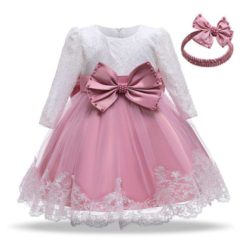 Vestidos de niña Vestido infantil bebé niña vestido otoño flor de encaje grande arco bautismo para niñas primer año cumpleaños fiesta de boda ropa