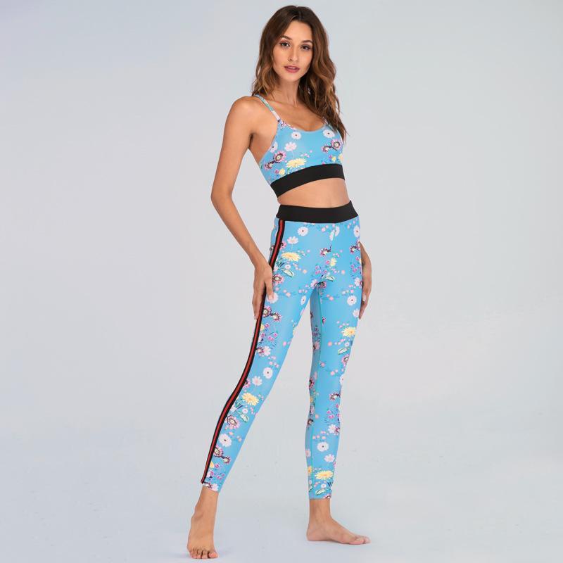 Frauen 2 stücke Outfits Druck Blume Blau Lauf Yoga Anzüge Hohe Taille Hosen Schwarz Border Sport Set Workout Gym Sportswear