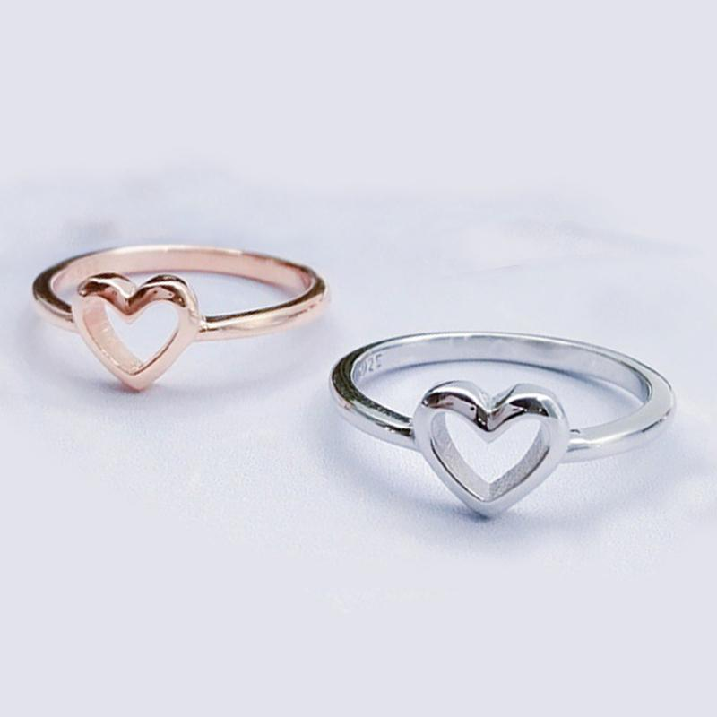 Yeni Moda Gümüş Renk Gül Altın Renk Aşk Kalp Şeklinde Alyans Kadın Için Çift Takı Hediye Dropshipping Y0420