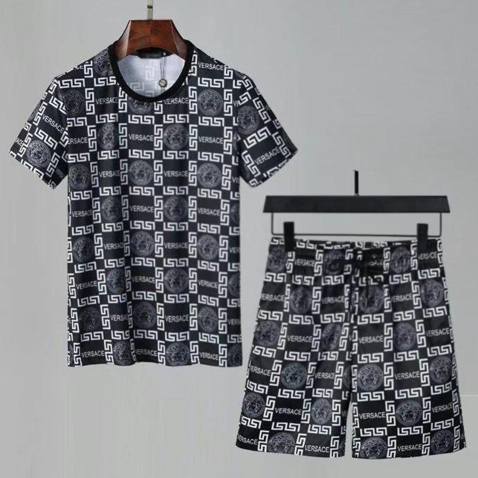 Ropa deportiva para hombres Verano 2021 Estilo italiano Ropa deportiva Camiseta de manga corta para hombre Casual Shorts delgado de 5 puntos