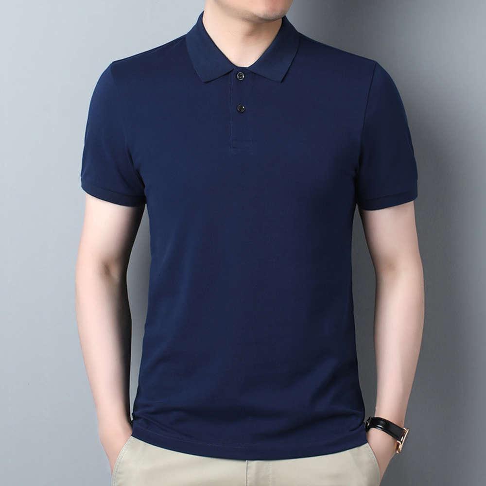 Verão novo masculino de manga curta t-shirt juventude moda casual cor sólida lapela confortável solto respirável algodão polo camisa