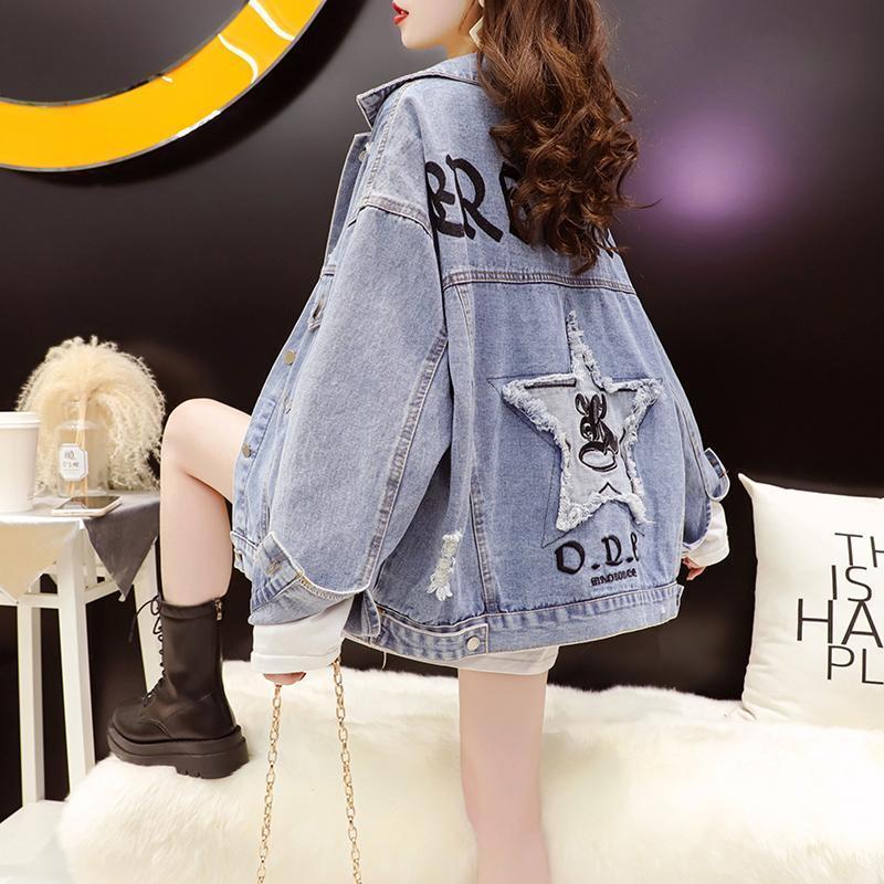 Janal quebrado jaqueta feminina primavera e outono 2021 início da versão coreana solta design casual jaquetas de mulheres nicho