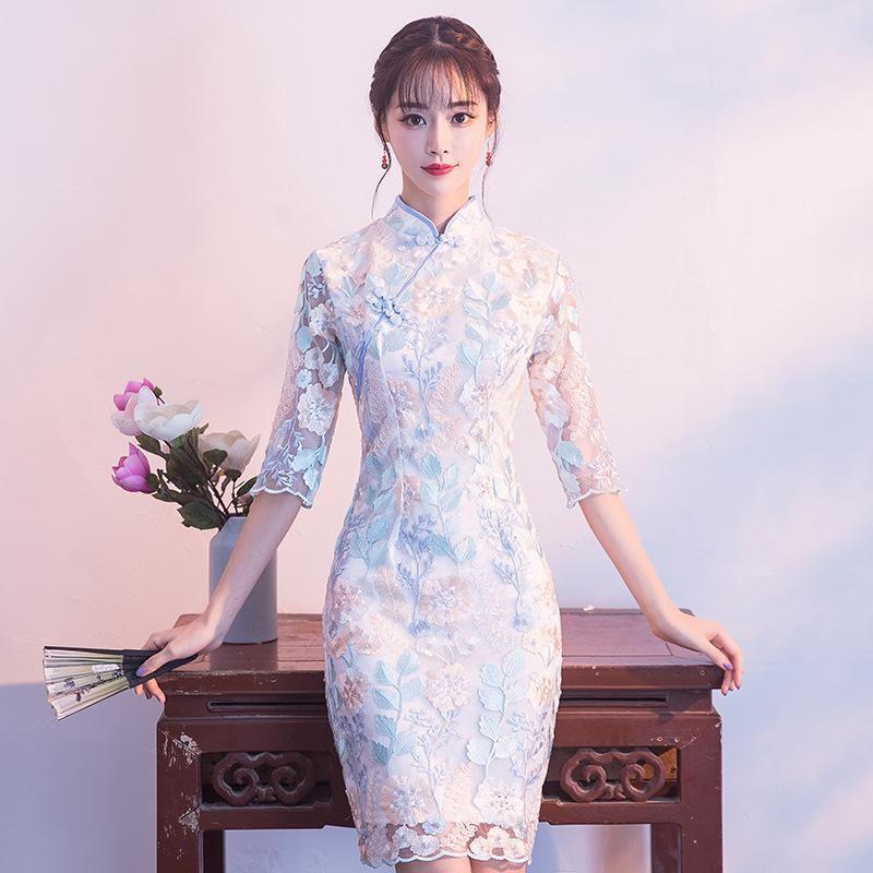 Lace Embroidery Flower Women Cheongsam Elegant Retro Mandarin Collar Qipao Straight Evening Dresses Bridesmaids Wedding Gown Ethnic Clothing